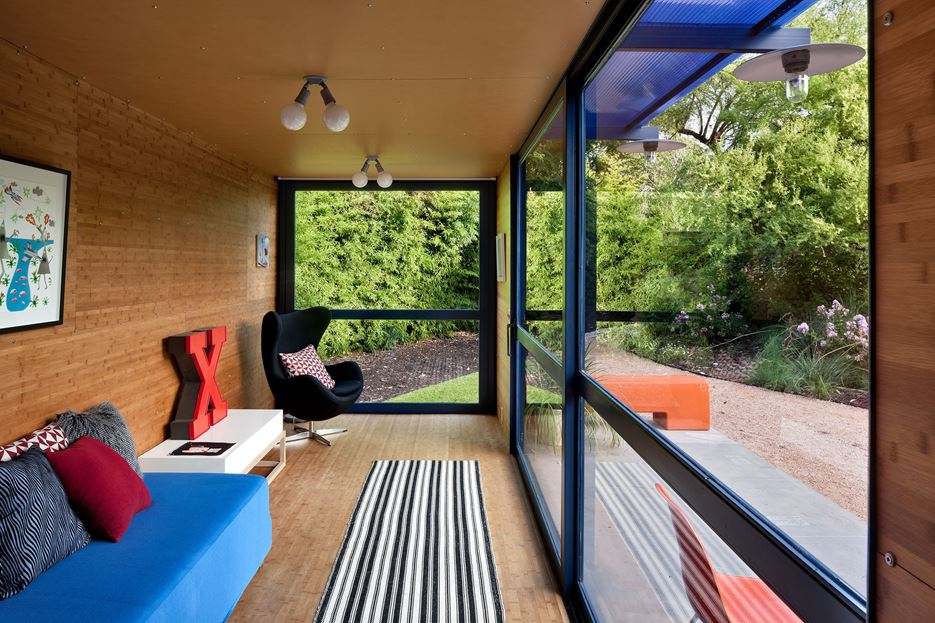 Living Room in A Guest House Made of Shipping Containers