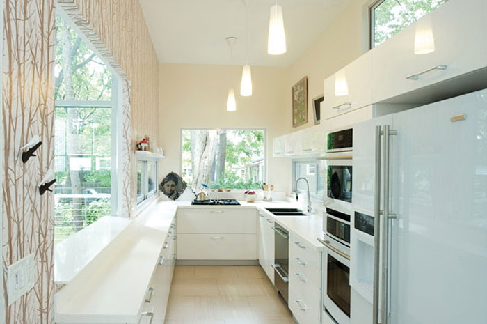 Bright single container kitchen space