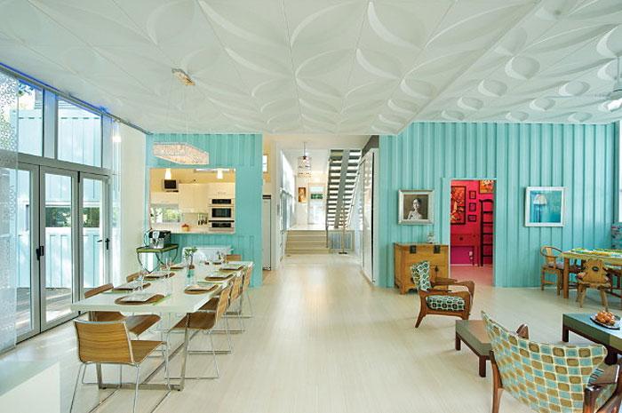 vibrant blue container home interior