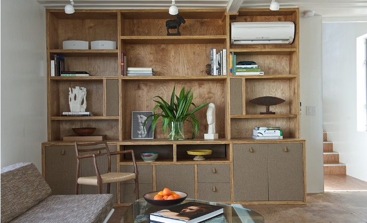 TV and Book Shelving fit Perflect at the end of the Shipping Container