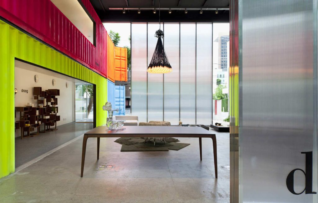 Colorful Shipping Containers for Wall and Rooms Inside of large warehouse