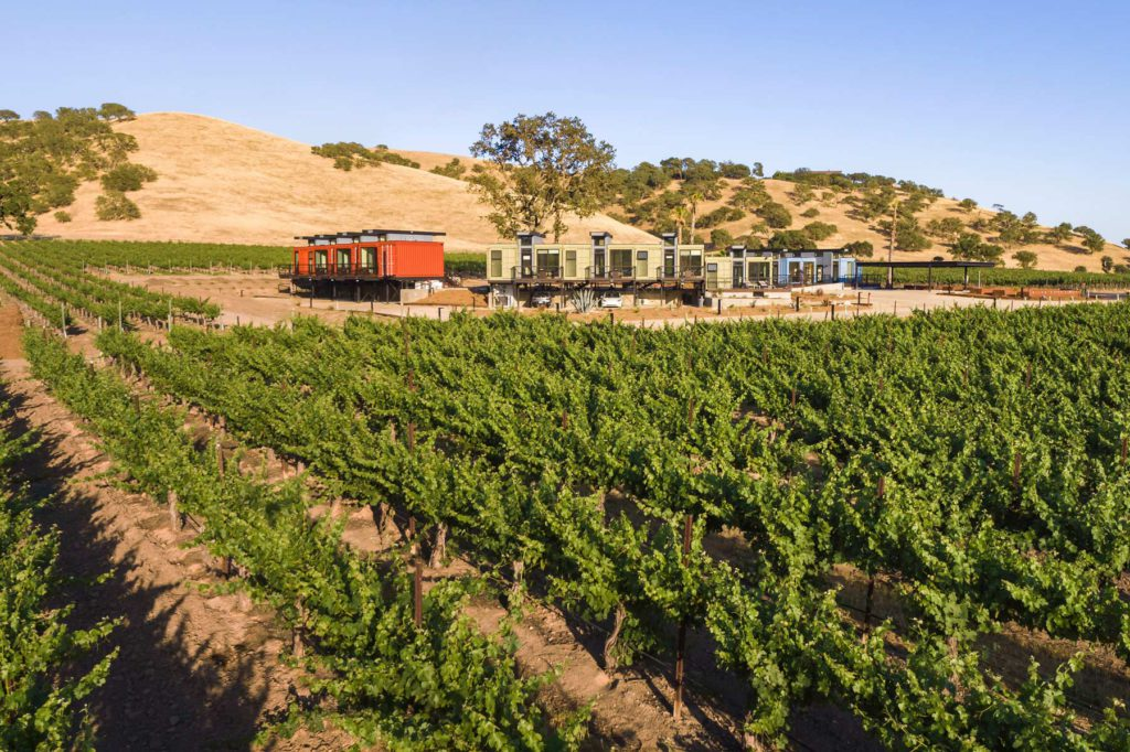 Vineyard Hotel Stay with Shipping Container Infrastructure